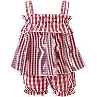 DERCLIVE 2Pcs / Set Niños Bebé Niña Ropa a Cuadros Traje sin Mangas Top Camisa + Bloomer Pantalones Cortos Rojo