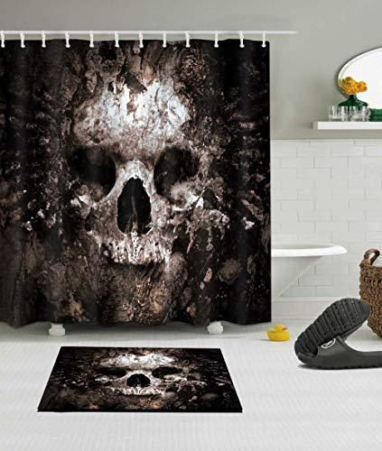 Muysmy Schädel Halloween Dusche Vorhang und Bad Matte Set wasserdichte Polyester Badezimmer Stoff für Badewanne Kunst Dekor 120x175cm-40x70inch schwarz
