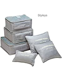 Styleys Set Of 6 Packing Cubes Travel Organizer Pouches (Grey)