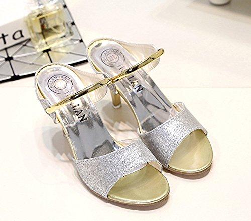 Wealsex damen sandalen stiletto high heels Silber