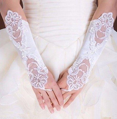 EROSPA® Handstulpen mit Stickerei und Perlen weiß Hochzeit Braut Handschuhe Fingerlos - 2