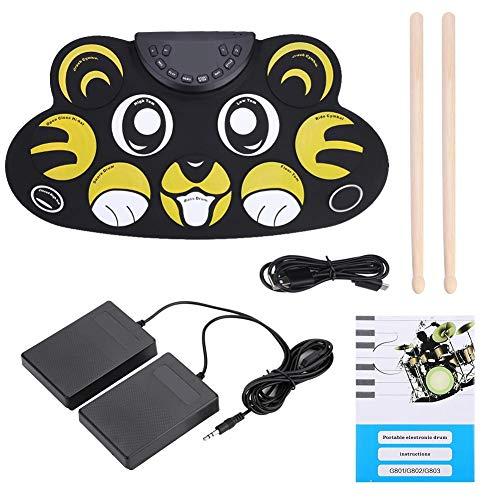 Roll-Up E-Drum, Cartoon Tragbare Aufrollen 9 Pads Elektronische Drum Set Kit mit Pedalen Sticks USB Kabel Drum Instruments Spielzeug für Kinder