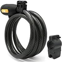 Meetlocks Bloqueo de cable en espiral, Pies Dia.12mmx5Ft (L) de cable de acero con una carga libre del soporte de fácil solución, se ajusta para el vástago de Dia.26-34mm Actualiza !!!