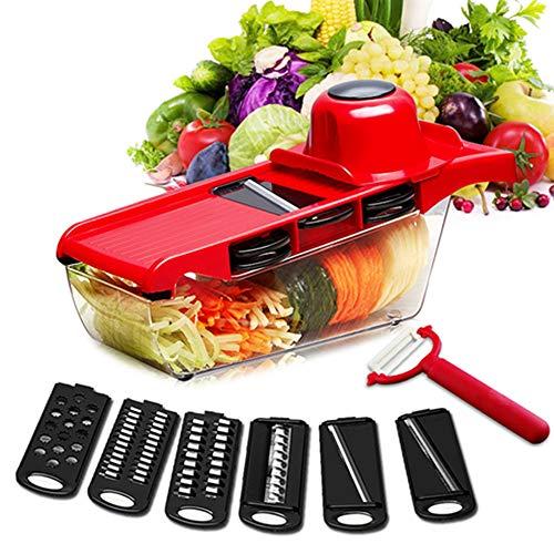 LangTek Profi-Küche Mandoline 5 in 1, Mandolinenschneider Obst und Gemüse Gemüsemandolinschneider für Karotten, Gurken, Käse, Zwiebeln, Rote Tomaten