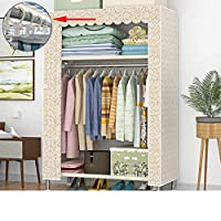Dxtxx Single Wardrobe Fabric Cabinet, Clothes Hanger Storage Rack, Bedroom Assembly Wardrobe(Triple),Goldenclouds