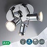 LED Baddeckenleuchte I schwenkbar I Chrom I Deckenleuchte I Badezimmer-Lampe I warm-weiß I 3 x 3 W I 230 V I IP44 I Produkthöhe: 125 mm