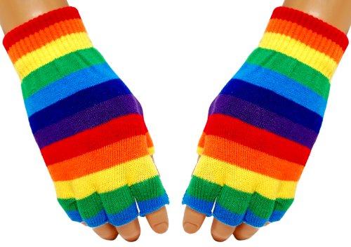 Gestreifte Fingerlose Handschuhe Regenbogen