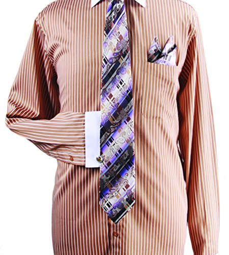 Tan Stripe Shirt (Men's Vertical Stripe Cotton Shirt Tie Cufflink Set - Tan 19.5 36-37)
