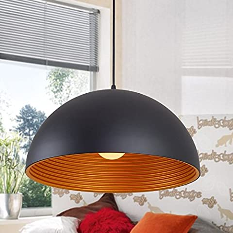 JiaYouJia Modern Dome Ceiling Lamp Shape Pendant Light, Whorl Aluminum Metal Single-Light (Large, Black)