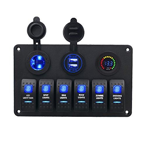 TurnRaise Panel de 6 interruptores basculantes con luces LED, impermeables, para coches o barcos, con voltímetro digital, encendedor de mechero de 12V y 2 cargadores adaptadores USB (interruptor 12v)