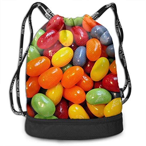 MLNHY Halloween Sour Gummy Jelly Beans Multifunctiona Drawstring Sport Backpack Foldable Sackpack