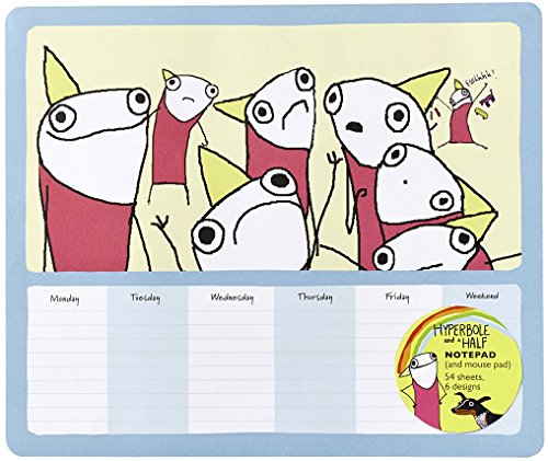 Portada del libro Hyperbole and a Half Notepad (and Mouse Pad): 54 Sheets, 6 Designs (Stationary) (Stationery) by Allie Brosh (3-Feb-2015) Paperback