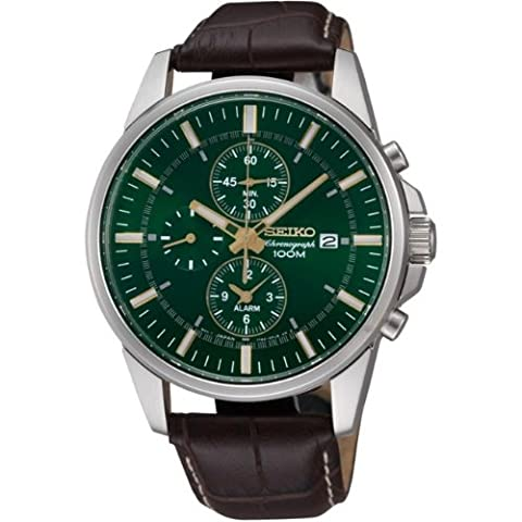 Chronograph Stainless Steel Case Leather Strap Green Dial