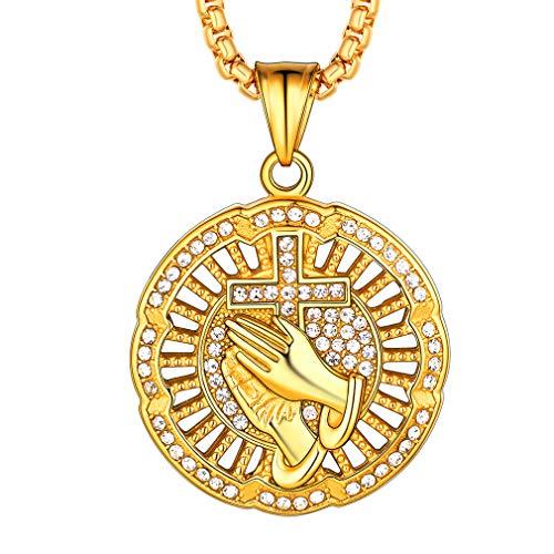 a658e0f388fb FaithHeart Diamante Recorte Bling Bling Bling Joyería Ice out Collar  Colgante de Moneda Acero Inoxidable Chapado