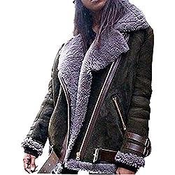 KCatsy Femme Plus La Taille Surdimensionné Blouson Manteau en Daim Side-Zipper Manteau Fausse Fourrure Pluffy Flannel Boucle Moto Survêtement(S(FR 36),Armée Vert)
