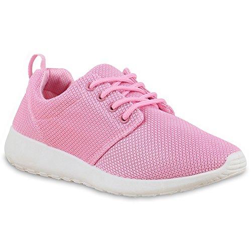 Damen Sportschuhe | Neon Laufschuhe | Runners Sneakers | Fitness Schnürer | Prints Blumen | Übergrößen Rosa