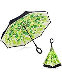 Doble capa paraguas invertido, pococina Creative resistente al agua resistente al viento C de manos libres con asa grande recto Stick al aire libre viaje Golf paraguas de marcha atrás, Unisex, Green Maple