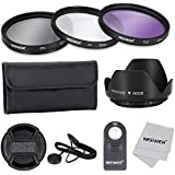 Neewer® 52MM Professional Lens Filter Accessory Kit and IR Wireless RC-6 Remote Control for Canon EOS 400D/ Xti;450D / Xsi; 1000D/ XS; 500D/T1i;550D/ T2i;600D/T3i; 650D/T4i;700D/T5i;100D;1100D with 52MM Filter Thread - Includes Filter Kit (UV, CPL, FLD) + Filter Carrying Pouch + Tulip Flower Lens Hood + Center Pinch Lens Cap with Cap Keeper Leash + Microfiber Cleaning Cloth+ IR Wireless RC-6 Remote Control