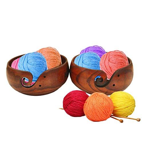 Comaie®, Holzschale zur Garnaufbewahrung, mit geschnitzten Löchern & Bohrungen für Strickzubehör, tragbare Hakenhalterung, Handwerksarbeit, hochwertige, massive Schalen, umweltfreundlicher Organizer für Ihre Häkelwolle