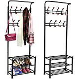 chinkyboo® metal 18 hanger hooks clothes coat stand shoes hats bags stand rack (black)