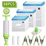 Sacchetti sottovuoto per Alimenti Diverse Misure, sottovuoto per alimenti manuale con pompa a mano, BPA Free 30 borse riutilizzabile per Conservazione Degli Alimenti Vacuum Sealer Cucina