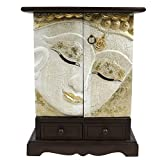 Oriental Galerie Buddha Schrank Thailand Kommode Akazie Holz Massiv 70 cm Asien Weiß Gold