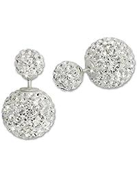 SilberDream Boucles d'oreilles doubles - Perles scintillant - Blanc - Tribale - Argent 925 - GSO651W