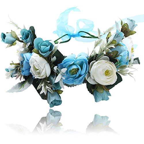Damen Mädchen Blume Stirnbänder Krone - Handarbeit Blume Haarkranz Girlande mit Schleife für Festival Hochzeitsfeie (Blau)