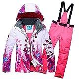 2018 Brandneu Damen Skijacke Wasserdicht Skianzug Schneeanzug Winter Skifahren Skiset Pink XXL