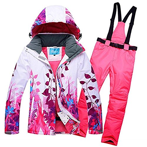 2018 Brandneu Damen Skijacke Wasserdicht Skianzug Schneeanzug Winter Skifahren Skiset Pink S