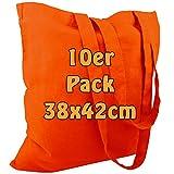 Cottonbagjoe Baumwolltasche Jutebeutel unbedruckt mit Zwei Langen Henkeln 38x42cm (Orange, 10 Stück)