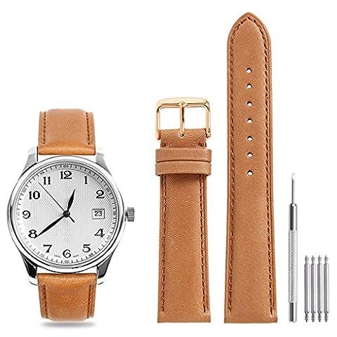 CHIMAERA Echtes Kalbsleder Uhrenarmband Unisex Genäht Kanten 18mm 19mm 20mm 21mm 22mm Ersatz Uhrenarmband Super weiche Classic Pin Gürtelschnalle (4 Farboption)