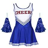 G-Kids Damen Mädchen Cheerleader Cheerleading Kostüm Uniform Karneval Fasching Party Halloween Kostüm Kleid Minirock mit 2 Pompoms Blau XS