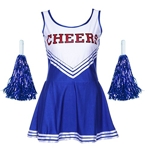 Damen Mädchen Cheerleader Cheerleading Kostüm Uniform Karneval Fasching Party Halloween Kostüm Kleid Minirock mit 2 Pompoms Blau XS