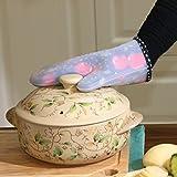 lpkone-Hochtemperatur Silikon tuch Verdickung Haushalt Mikrowelle Backofen Küche Handschuhe anti Hot isolierte Handschuhe, 1 Packung