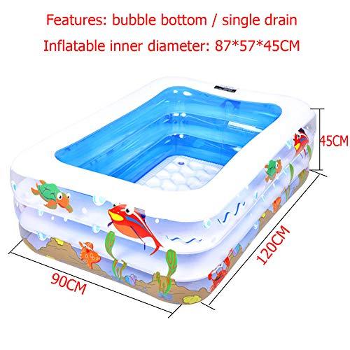 DSFGHE Kind Aufblasbarer Swimmingpool Familie Baby Planschbecken Sicherheit PVC Verdicken Rechteckige Aufblasbare Pools Tragbare Aufblasbare Badewanne Im Freien,Blue-120CM