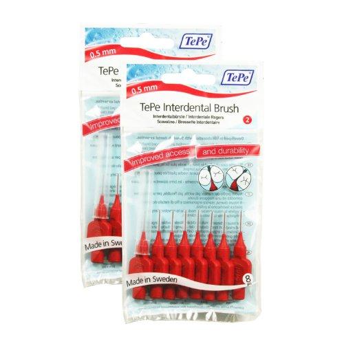 TePe Interdentalbürsten 0,5mm rot 8 Stück Packung, 2er Pack (2x 8 Bürstchen)