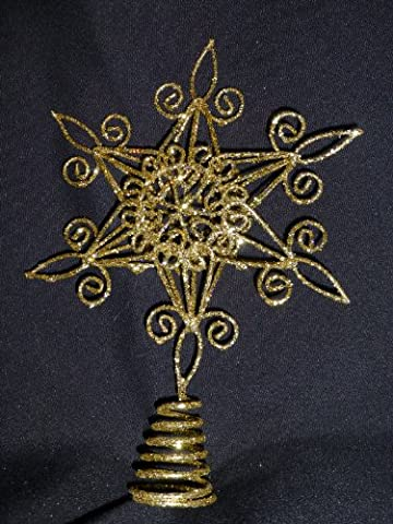 Christmas Decorations - 20cm Gold Star Glitter And Swirls Christmas