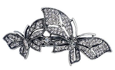 SaySure - Double Butterfly Rhinestone Crystal Hair Clip Barrette