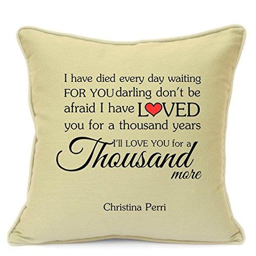 Christina Perri Tausend Jahren Love Song Kissenbezug Geschenk für ihn her Husband Frau Freundin Boyfriend Valentinstag Hochzeit Jahrestag Geschenke 45,7cm 45cm - Jahre Tausend Song