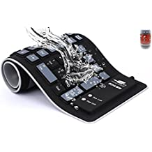 bonusis plegable de silicona teclado USB Wired silicona flexible suave impermeable Roll Up Silicagel) de Desktop (103Keys) Teclado de ordenador para PC Laptop Cuaderno para PC–[Negro]