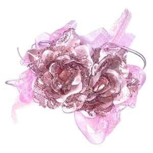 Broche / pince à cheveux motif 2 fleurs violet lilas en tissu