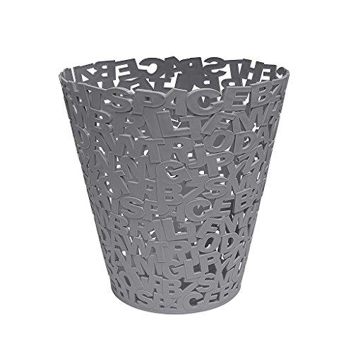 balvi Papierkorb Letters Farbe grau Kunststoff 30 cm