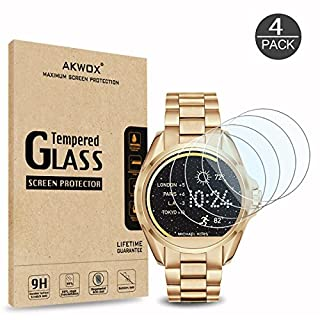 AKWOX (4-Pack) Tempered Glass Screen Protector for Michael Kors MKT5001, [0.3mm 2.5D High Definition 9H] Anti Scratch Screen Protector for Michael Kors MKT5001