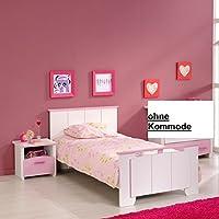 Preisvergleich für Jugendbett 90*200 cm rosa weiß Mädchen Kinderbett Jugendliege Bettliege Bett Bettgestell Holz Jugendzimmer Kinderzimmer