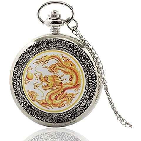 vear Mens drago quarzo argento orologio da tasca Pendent catena + vear Confezione Regalo - Drago Quarzo Orologio