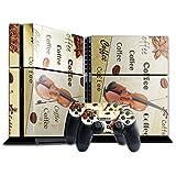 Kaffee COF002, Violine und Kaffeebohnen, Designfolie Sticker Skin Aufkleber Schutzfolie mit Farbenfrohem Design für Playstation 4 CUH 1200