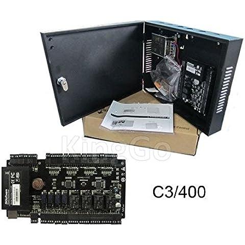 TCP/IP 4puertas Junta de Control de acceso panel de control acceso puerta de C3–400acceso Control sistema con fuente de alimentación y proteger