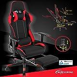mecor Fauteuil de Bureau Chaise de Course Rouge Noir Jeu Gaming Pivotant Massant Chair Repose-Pieds Escamotable Confortable Massage Repos Relax Ordinateur …