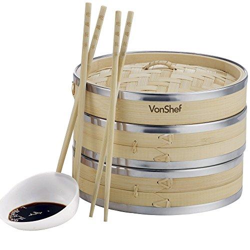 VonShef Vaporera de Bambú 20cm 2 Pisos con Banda de Acero Inoxidable...